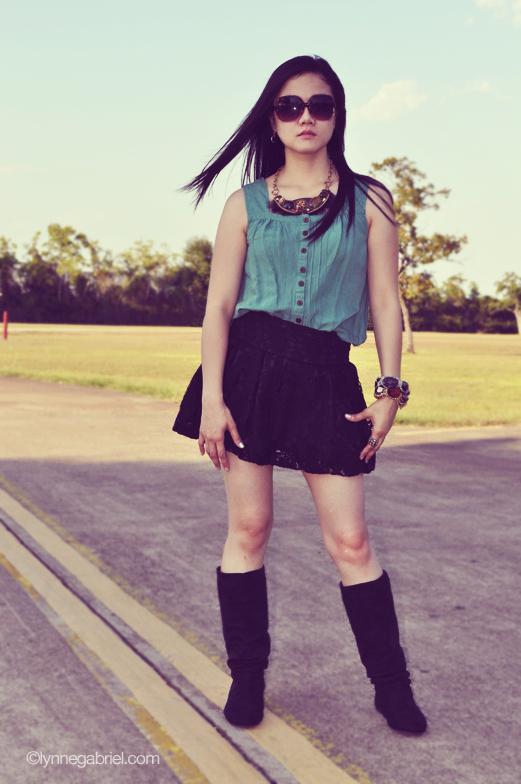 Black Lace Skirt + Black Boots