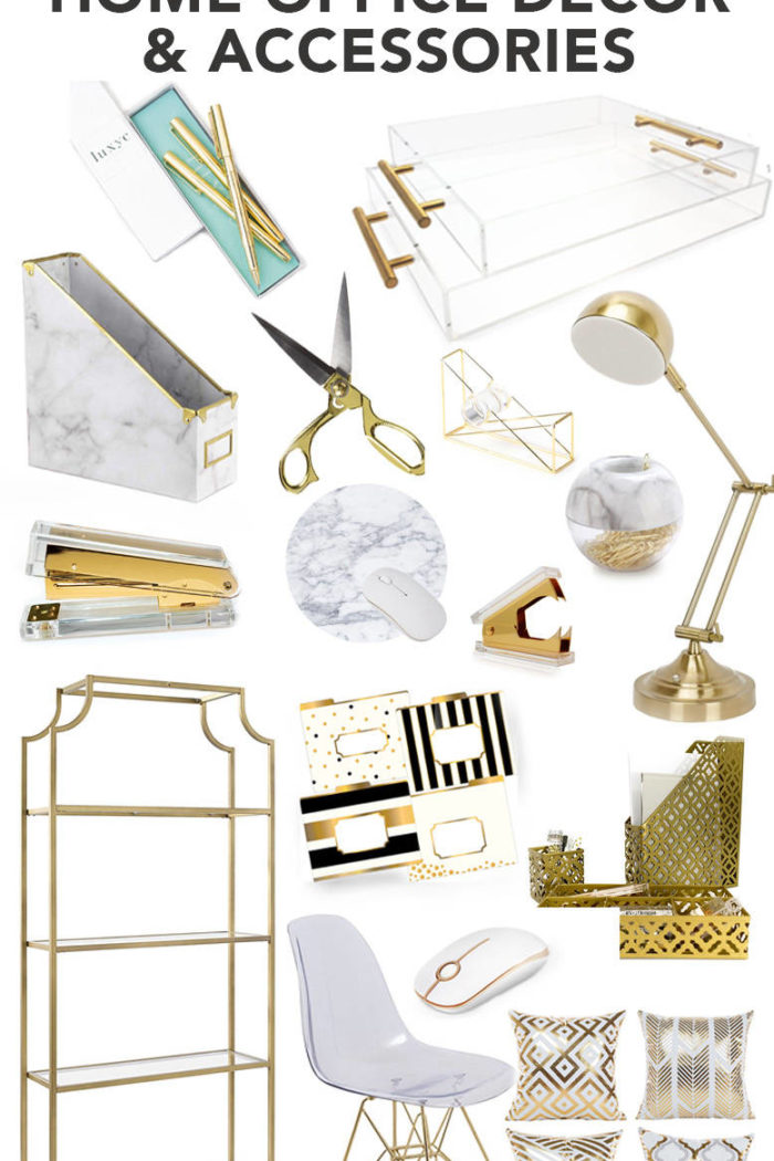 Gold, White, Marble, Acrylic Home Office Decor and Accessories